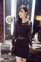 Wholesale 2016 new winter night sexy little black dress lace stitching on long sleeved midriff package hip dress
