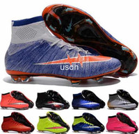 Wholesale 2016 Women Mercurial Superfly FG CR7 Soccer Shoes Children Soccer Boots Cleats Laser original Kids Boys Girls Football Shoes Eur