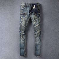 big feet men - Balmain motorcycle models big yards retro do the old casual pants hole Slim jeans feet washing retro fashion jeans