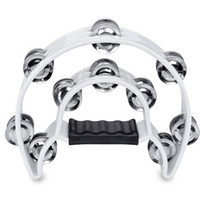 Wholesale SEWS Double Row Jingles Half Moon Musical Tambourine Percussion Drum White Party KTV