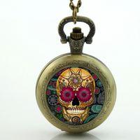 antique skull watch - Antique bronze vine Skull pocket watch Necklace skull pocket watch sugar skull necklace