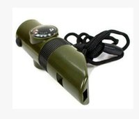 Wholesale 7 and Survival whistle seven in one outdoor multifunctional lifesaving whistle Green Army survival high frequency whistle