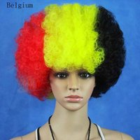 belgium wig - Euro synthetic party wigs national flag wigs BELGIUM halloween cosplay wigs World Cup Football Fan Wig