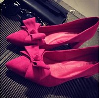 Wholesale 1Lady joker V opening Middle heel female bow pointed Shoes Women Wedding Party Pumps Suede bow with rough suede shoes fashion work all match