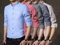 100% cotton men dress shirts - 2016 New Stand Collar Men Long Sleeved Shirt Camisas Splice Solid Color Business Casual Striped Shirt Chemise Homme M XL
