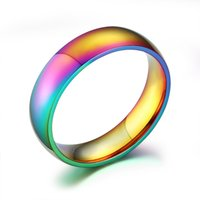 Wholesale New arrival rings for women and men Fashion Colorful Rainbow Rings simple stainless steel rings