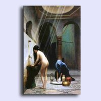 Cheap Hand-painted modern wall art home decorative abstract oil painting on canvas naked young lady - Turkish women in the bath 24x36inch Unframed