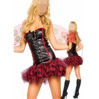 adult tutu black - Sexy Dress Halloween clothes adult bee cosplay costumes Red Women Cosplay Lace Up Costume Carnival Costume Tutu Skirt