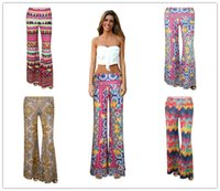 bell bottom pants pattern - 2016 Hot Sexy Women Digital printing culottes long section pants was thin bell bottoms Classic Quilted pattern wide leg pants yoga pants