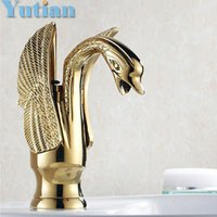 Wholesale Luxury Copper hot and cold taps Swan faucet Gold plated wash basin faucet Mixer sink Taps torneiras YT