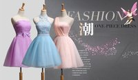 Wholesale Mini Organza Bridesmaid Dress Strapless One Shoulder With Lace and Elastic Band Elegant and Sweet For Wedding Party and Dating