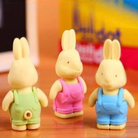 Wholesale High grade Cute Little Rabbit Eraser Pencil Eraser Rubber Eraser Kids Students Gift Creative Stationery Papelaria Material Escolar