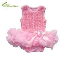Wholesale Baby Chiffon Princess Dress Toddler Girl Sleeveless Romper Cute Rose Bubble Tutu Dress Baby New Fashion Spring Summer Clothing
