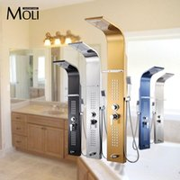 Wholesale 10 Inch shower panel in wall bathroom shower set rainfall massage system faucet with jets hand shower rack shower column