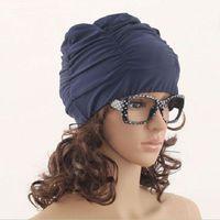 Wholesale Sexy Womens Girls Drape Stretch Long Hair Swim Cap Hat Bathing Swimming Cap Summer Style