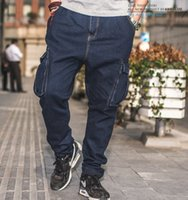 big and tall blue jeans - Plus Size Mens Baggy Hip Hop Jeans Skate Board Men s Jeans Pants Cargo Side Pockets Men Big and Tall Brand Clothing Size