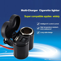 Wholesale Motorcycle Bike Car Cigarette Lighter Adapter Waterproof Car Accessories V V Power Socket USB Ports Charger For Cellphone iphone Samsung