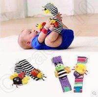 2 Designs 4pcs mis Lamaze Hochet Set Baby Sensory Jouets Footfinder Socks poignet hochets Bracelet Infant 600pcs Peluche CCA4915