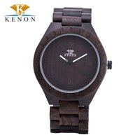 bamboo quartz - 2016 Top Luxury Brand Kenon Men s Bamboo Wooden Watch Men Relogio Quartz Movement red Sandal wooden Men Watches