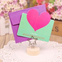 Wholesale 30pcs Heart Shape Birthday Greeting Cards With Envelope Creative Cards Blessings Love Heart Thank Wedding Card