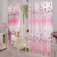 Wholesale Tulip Flower Floral Tulle Voile Window Curtain Drape Sheer Decor Valances
