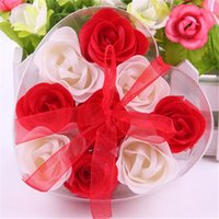 Wholesale Washing Cleaning Bath Rose Flower Paper Petals Soap Gift Organtic Wedding Gift Favor Mulit Color Soap one box