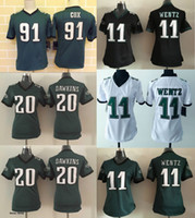 eagles football jerseys - 2016 Women Jerseys Carson Wentz Dawkins Fletcher Cox Black Green White Eagles Stitched Free Drop Shipping