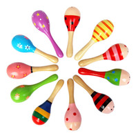 Wholesale Wooden Maraca Wood Rattles Kids Musical Party favor Child Baby shaker ToySand hammer wood hammer color wooden rattles baby toys