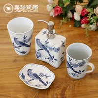 Wholesale Chinese hand painted Floral birds pattern ceramic bathroom set sanitary ware products Hotel amenities kit supplies