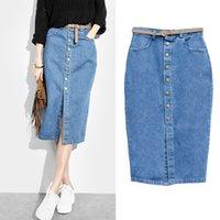 Nueva primavera y verano Europa y América delgada cintura de color sólido Casual Denim falda paquete de falda de la cadera de mediana longitud Jean falda Por Fly_Dream