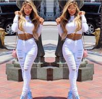 achat en gros de états-unis grand-La nouvelle Europe et les États-Unis grand trou femme han édition déchirée jeans stretch pieds pantalons