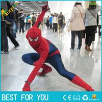 Wholesale New hot Superhero Adult Spiderman Costume Adult Halloween Cosplay Lycra Spandex Full Bodysuit Plus Size Spiderman Costume For Men