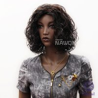 Wholesale 3820 NAWOMI Wigs For African Woman Synthetic Short Curly Wigs Dark Brown Colors Fluffy Wig Cap