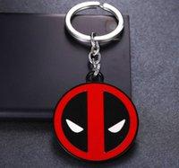 ally shipping - Zinc Ally Deadpool Cartoon Pendant Keychain Super Hero Deadpool Keychains Cute MARVEL Deadpool Round Face Deadpool Q Keychain