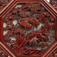 antique wood windows - Yi Xin wood camphor wood octagonal pendant Chinese antique wall decoration wall mural hanging flower window