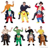 Wholesale Funny CARRY ME Fancy Dress Up Ride On Bear Mascot Costume Party Mascot Halloween Costume One Size style