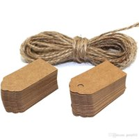 Wholesale DECORA Wedding Brown Retangle Scalloped Kraft Paper Hang Tag with Jute Twine For Gifts Crafts Price Tags