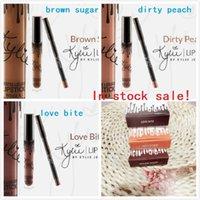 Wholesale 100 kits Brown Sugar Dirty Peach Love Bite KYLIE JENNER LIP KIT Kylie Matte Liquid Lipstick Lip Liner Kylie lip New Color