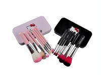 Wholesale 7Pcs Set Hello kitty Make Up Cosmetic Brush Kit Makeup Brushes Pink iron Case Toiletry beauty appliances makeup brush set