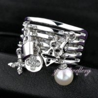 adorn engagement rings - 2016 New Arrival Fashion Key Ring pear and Lock adorns antique silver rings cuff for female women engagement and wedding R422