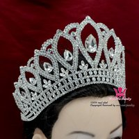 Wholesale Rhinestone Crowns Tiaras Lager Adjustable Miss Pageant Queen Bridal Wedding Princess Party Prom Night Clup Show Headdress Hairwear m