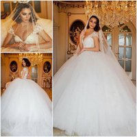 Wholesale romantic ball gown wedding dresses princess v neck cap sleeve court train pearls tulle applique bride bridal dresses custom made