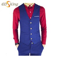 Wholesale Fall New Mens Single Breasted Waistcoat Fashion V Neck Sleeveless Suit Vest Men Gilet Costume Homme Chalecos Hombre Colors