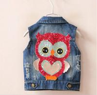 Wholesale Sleeveless Jacket For Boys - Newest 2016 Fashion Sequin Owls Boys Girls Jacket Kids Vests Waistcoats Denim Vest Coat Cowboy Coats For Gils Outwear Blue K7742