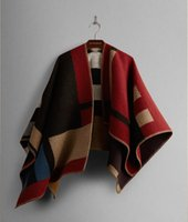 american crew thickening - Europe and American style Women Poncho thicken Cashmere Wool Scarf Monogramed Poncho OP Cape Plaid Winter Check Blanket Poncho A0072