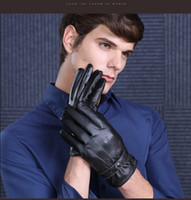 Wholesale Business style men s driving PU leather dring glove classical black PU male leather gloves for winter simple style