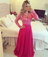 Wholesale Vestido de festa Lace Long Sleeves V neck Evening Dress with Sequins Beads Blue Coral Fuchsia Women Party Prom Dresses for Special Occasion