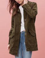Wholesale Fashion women s cloth cotton outwear coats trench kaki white mid long round collar vintage style gtop brand good quality on sale