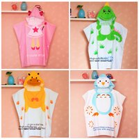 Wholesale Cute Baby Boy Bath Ropes Baby Hooded Swaddle Large Towels Cartoon Animals Head Owl Dinosaur Bee Robes Baby Girl Angel Bath Rope