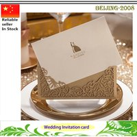Wholesale Laser Cut Wedding Invitations Gold Heart Father s Day Graduation Mother s Day Invitations Card For Party Supply Free Printing